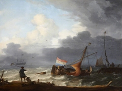 A Squall: A Lugger Running into Harbour
