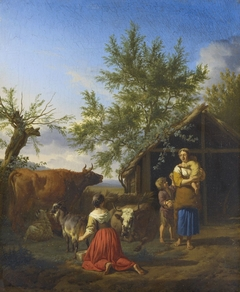 A Woman Milking a Goat outside a Barn