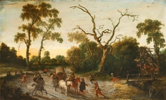 A Wooded Landscape with Armed Men attacking a Wagon Party