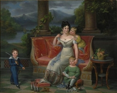 An elegant lady with three children on a neoclassical settee, on a balcony