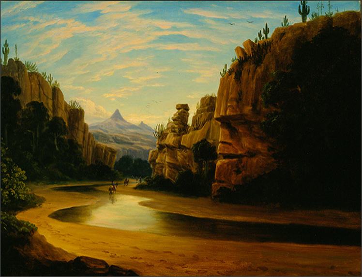 Bartlett Survey Party Traversing a Canyon