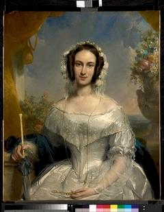 Bruidsportret van Agatha Petronella Hartsen (1814-1878), echtgenote van Jan van der Hoop (1811-1897)