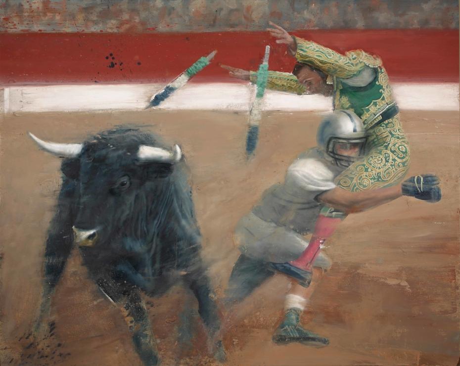 Bullfight - oil on canvas - 130x160 cm.