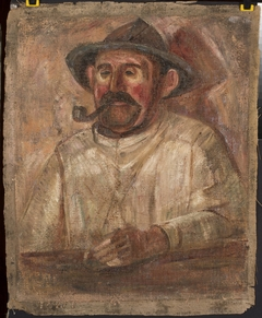Bust of a man in a hat with a pipe