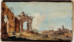 Caprice, avec arc en ruine et maisons de pêcheurs