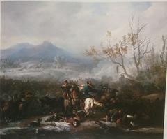 Cavalry Skirmish in Winter Landscape