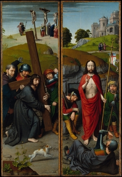 Christ Carrying the Cross, with the Crucifixion; The Resurrection, with the Pilgrims of Emmaus