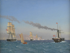 """Christian VIII Aboard his Steamship """"Ægir"""" Watching the Manoeuvres of a Squadron near Copenhagen"""
