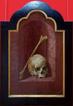 Crâne et fémur dans une niche