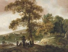Distinguished Hunting Company on the Bank of a River