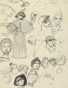 Diverse portret- en figuurstudies van vrouwen en mannen