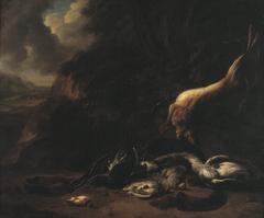Dood wild en jachtgerei in een landschap