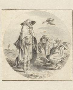 Een man en een vrouw die vogels nadoen
