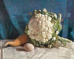 Egg and Cauliflower Still Life