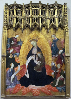 Enthroned Virgin and Child, with the Cardinal Virtues and Two Figures Holding Scrolls