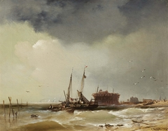 Fisher Boats Landing on a Beach