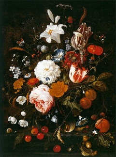 Flowers in a glass Vase with Fruit