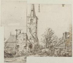 Gezicht op de kerktoren bij Rijnsburg