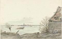 Gezicht op het overstroomde Ransdorp, februari 1825