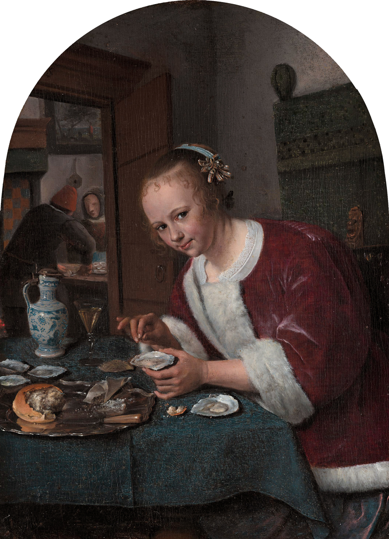 Girl eating oysters