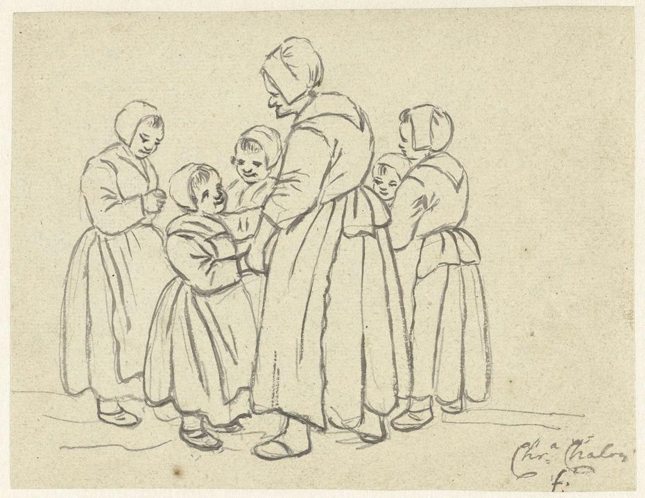 Groep kinderen met een oude vrouw