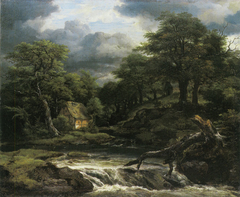 Hilly wooded landscape with a half-timbered house by a water fall
