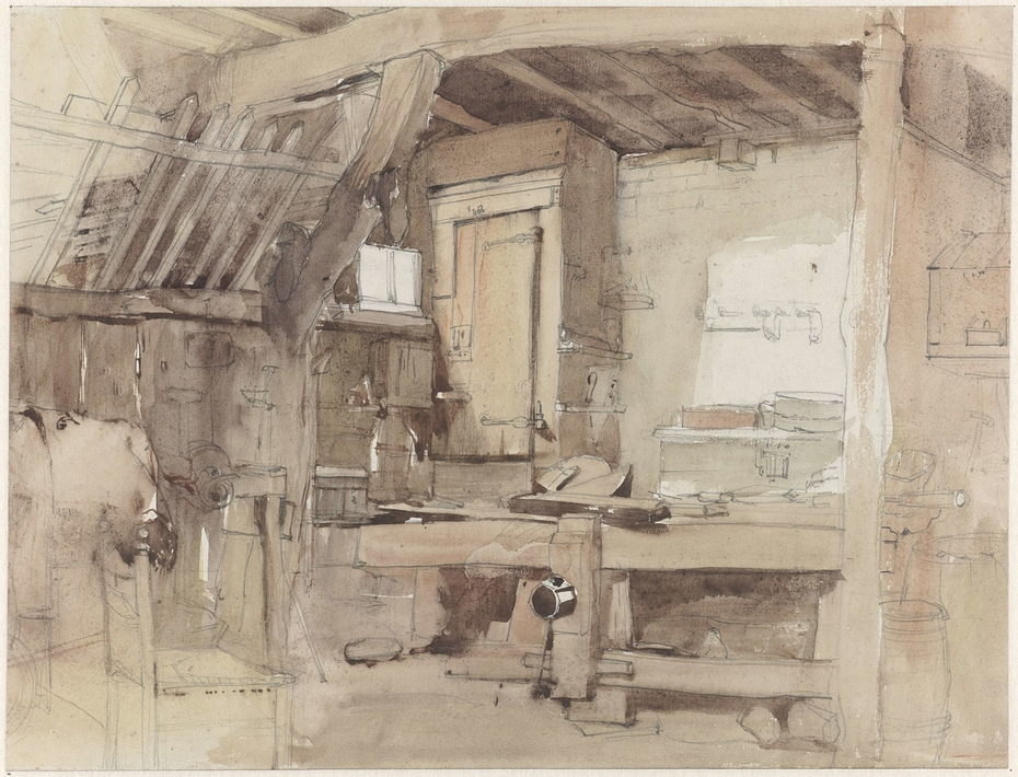 Hoek van de timmermanswerkplaats van huize Klingelbeek te Oosterbeek