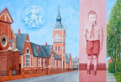 'Holme Hill Primary School' (2012), oil on linen,  66 x 96.5 cm