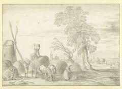 Hooiende boeren met in de verte 's-Gravenhage