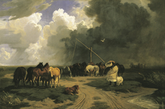 Horses in a Rainstorm