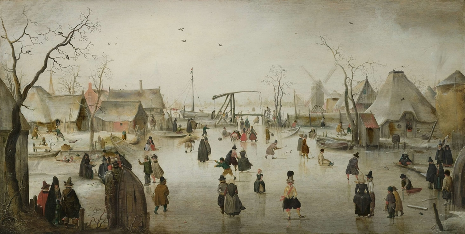Ice-skating in a Village