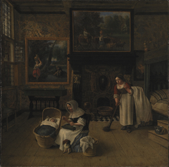 Interior with a Woman Embroidering and Rocking a Child in a Cradle