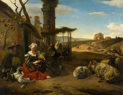 Italian landscape with shelter and antiques ruins
