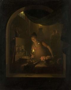 Kitchen by Lamplight