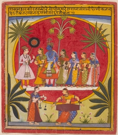 Krishna, Radha, and the Gopis Meet a Young Prince
