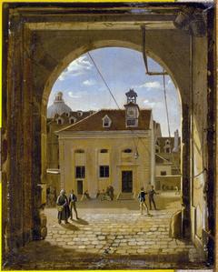La cour du collège Sainte-Barbe, rue de Reims
