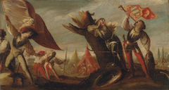 Landscape with a  soldier sounding a trumpet and a standard bearer, a military encampment beyond