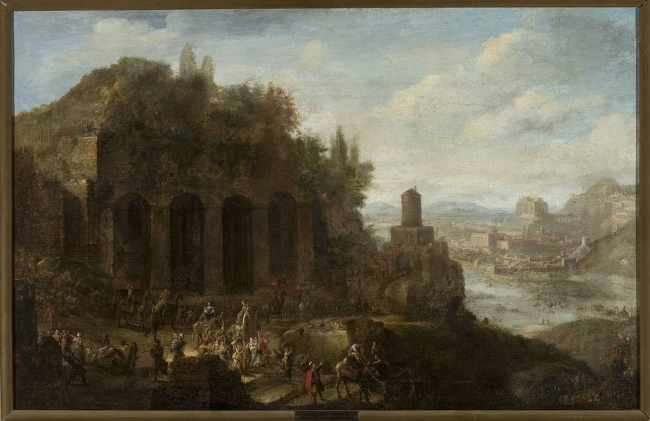 Landscape with a view of a port city