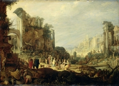Landscape with Roman Ruins and the Meeting of Rebecca and Eliezer