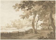 Landschap met een weg onder bomen