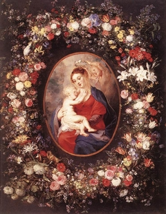 Madonna and Child with Angels in a Garland of Flowers