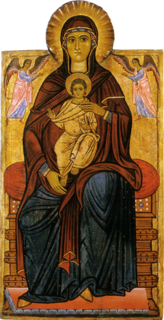 Madonna with Child enthroned with two Angels