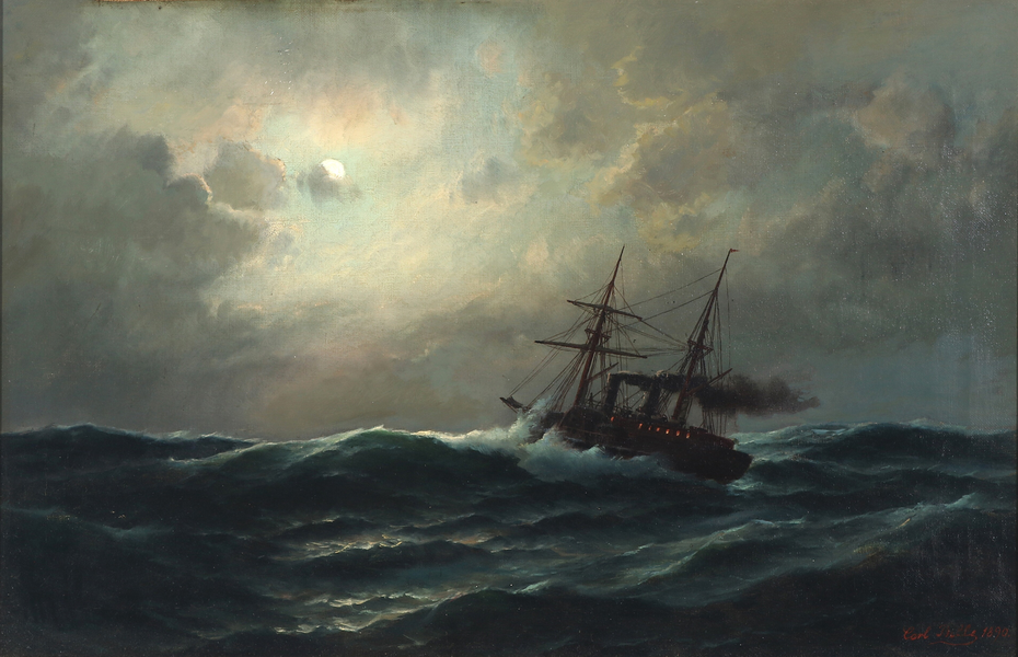 Marine with ship on rough sea at full moon