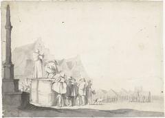Marktplein met omroeper op een vat