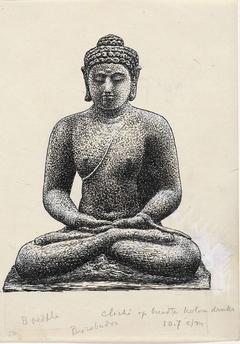 Ontwerp boekillustratie voor Alexander Cohen's Van Anarchie tot Monarchie: Buddha op de Borobúdur te Java
