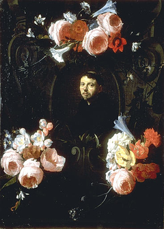 Portrait of a Monk in a Garland of Flowers