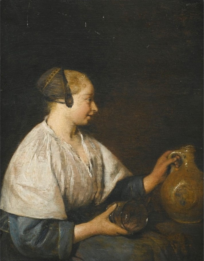 Portrait of a Woman in Profile, Holding a Jug