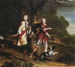 Portrait of two young boys as hunters