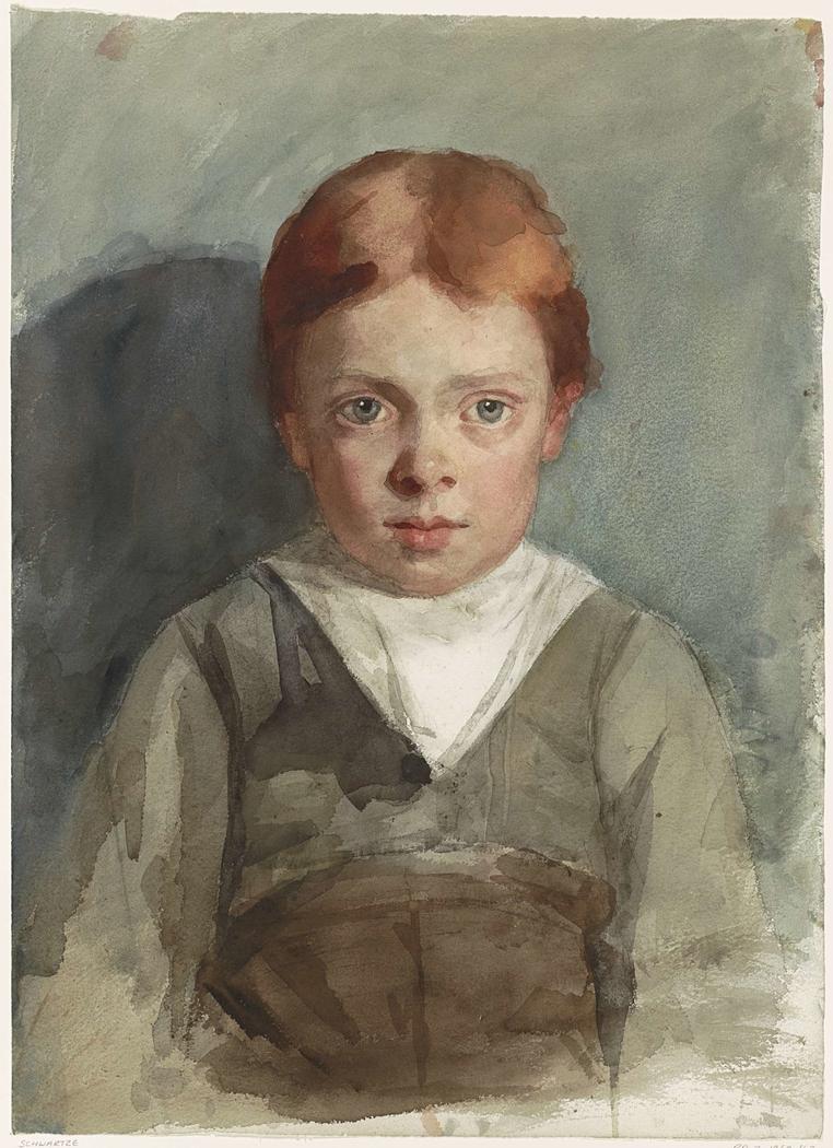 Portret van een jongetje met rood haar, van voren