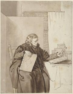 Portret van een oude man in een studeervertrek